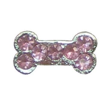 HRH Pets HRCZ28 Pink Dog Bone - Cubic Zirconia Pet Charm
