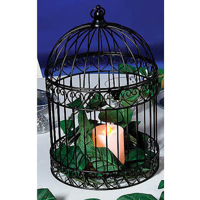 Decorative Bird Cage Centerpiece Black