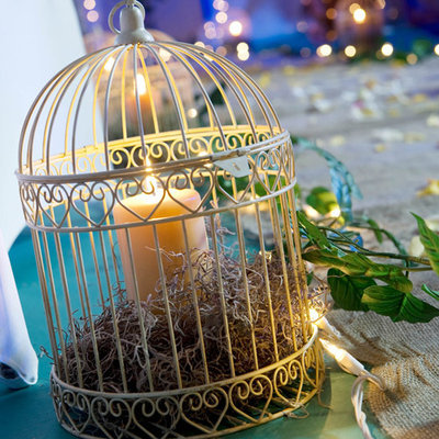 Decorative Bird Cage Centerpiece Ivory