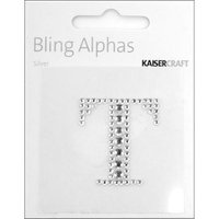 Kaiser Craft Bling Alphas Rhinestone Letter, Silver Crystal T