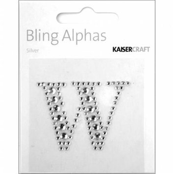 Kaiser Craft Bling Alphas Rhinestone Letter, Silver Crystal W