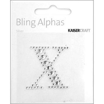 Kaiser Craft Bling Alphas Rhinestone Letter, Silver Crystal X