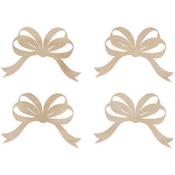 Kaisercraft Wood Flourishes-Ribbon Bows 4/Pkg