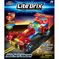 Cra-z-art Lite Brix Racer Assortment (35816 - Yellow Racer and 35815 - Red Racer)