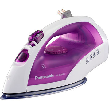 Panasonic Clothes Iron - Stainless Steel Sole Plate - 1200 W - White, Purple (nie660sr 2)
