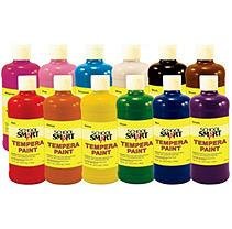 School Specialty School Smart Multi-Purpose Liquid Tempera Paint Set, 1 Pint Plastic Bottle, Assorted Vibrant Colors, Set of 12