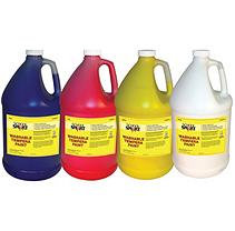 School Specialty School Smart Washable Tempera Paint Set, 1 Gallon Plastic Bottle, Assorted Colors, Set of 4
