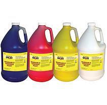 School Specialty School Smart Washable Tempera Paint Set, 1 Gallon Plastic Bottle, Assorted Colors, Set of 4