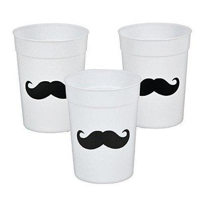 Cool Fun 3-5242 Plastic Mustache Party Tumbler Glasses
