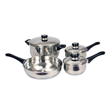 Home Basics CS00486 Cookware Set Stainless Steel 7 Piece Pack of 2