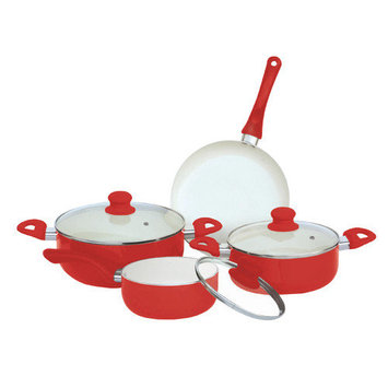 Hds Trading Corp 7 Piece Ceramic Cookware Set Color: Red