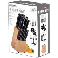 Home Basics 33-piece Cutlery Knife and Utensils Set with Wooden Block