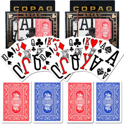 Trademark Poker Copag Poker Size Magnum Index, Blue/Red Set Of 2