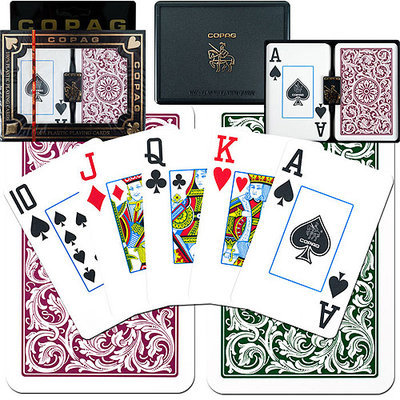 Trademark Poker Copag Bridge Size Jumbo Index, Green Burgundy Setup