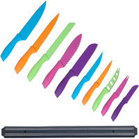 Trademark Global Games Whetstone 10-piece Multi-colored Knife Set with Magnetic Organizational Bar
