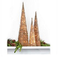 Decorative Glitter Pre-Lit Cone Trees - Set of 3