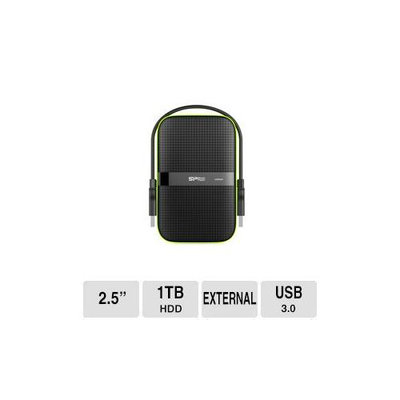 Silicon Power Armor A60 1TB USB 3.0 Shockproof and Water-Resistant Portable Hard DriveBlack