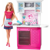 Mattel Barbie Doll and Kitchen Furniture Set