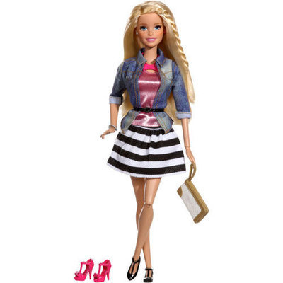 Mattel Girls Barbie Style Barbie Doll, Jean Jacket and Black & White Shirt