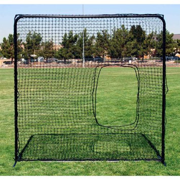 Fallline Corporation Softball Pitchers Square Net in Black w Tubular Steel Frame