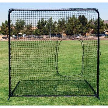 Fallline Corporation Softball Pitchers Square Net in Black w Tubular Steel Frame