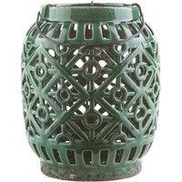 Surya Killian Ceramic Lantern, Brown, 8.9 H x 7.5 W x 7.5 D