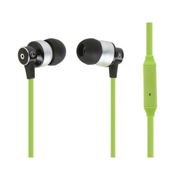 Monoprice Hi-Fi Reflective Sound Technology Earphones w/ Microphone-Green/Silver