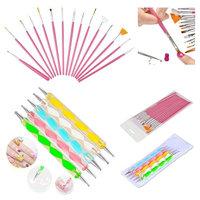 Insten Zodaca Pink 20 x Pack Nail Art Design Set Dotting Painting Drawing Polish Brush Pen Beauty Tools