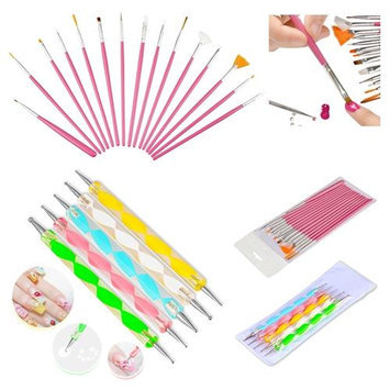 Insten Zodaca Pink 20 x Pack Nail Art Design Set Dotting Painting Drawing Polish Brush Pen Beauty Tools
