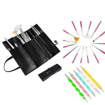 Insten Zodaca 20 Pcs Nail Art Design Painting Dotting Pen Pink Brushes Set+Black Roll up Bag