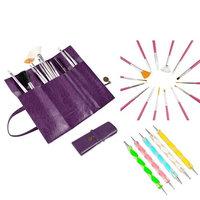 Insten Zodaca 20 Pcs Nail Art Design Painting Dotting Pen Pink Brushes Set+Purple Roll up Bag