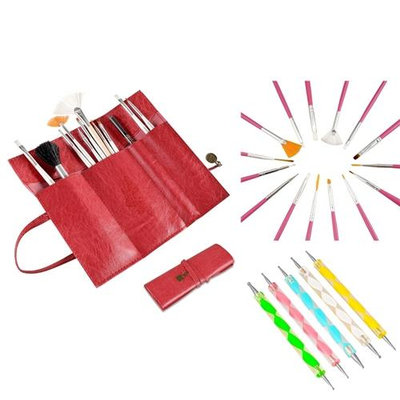 Insten Zodaca 20 Pcs Nail Art Design Painting Dotting Pen Pink Brushes Set+Red Roll up Bag