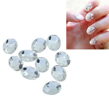 Eforcity INSTEN 6 x 8mm Oval Classy Nail Art Idea Design DIY 3D Crystal Stickers (Pack of 10)
