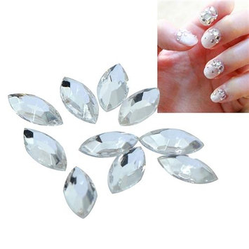 Eforcity INSTEN 5 x 10mm Almond Classy Nail Art Idea Design DIY 3D Crystal Stickers (Pack of 10)