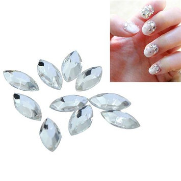 Eforcity INSTEN 4 x 8mm Almond Classy Classy Nail Art Idea Design DIY Idea Design DIY 3D Clear Crystal Stickers (Pack of 10)