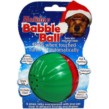 Pet Qwerks Large Holiday Sounds Babble Ball-Red & Green