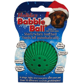 Pet Qwerks Small Holiday Sounds Babble Ball-Red & Green