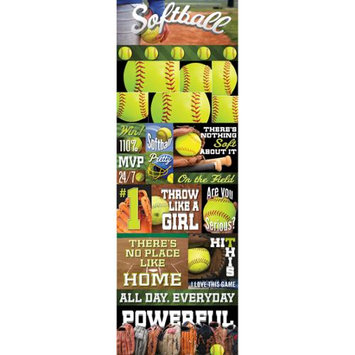 Reminisce Real Sport Die-Cut Cardstock Stickers 4.25X13-Softball Graphic