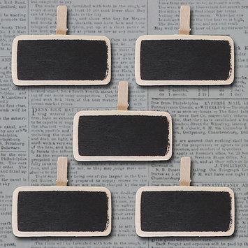 Maya Road Mini Wooden Chalkboard Clips 5/Pkg-Natural 1.1