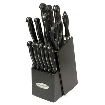 Oceanstar Contemporary 15-Piece Knife Set with Block - Black