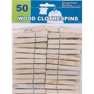 Bulk Buys Wood Clothespins 50 Ct. - Case of 12