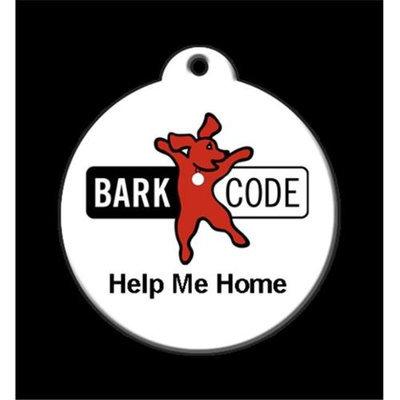 QR Code Pet ID Tag 01-HH-BC-WH Help Me Home Signature BARKCODE Logo Tag Dog Tag