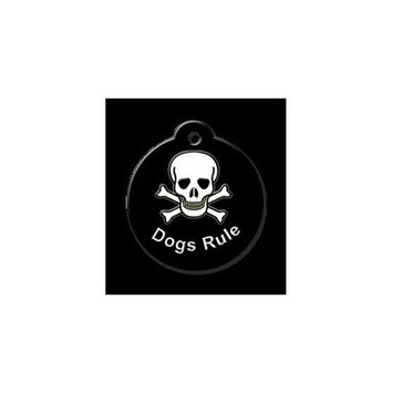 QR Code Pet ID Tag 01-CL-DR-BK Classic Skull-Dogs Rule Black Dog Tag