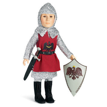 Carpatina Knight Outfit with Tunic, Tights, Shirt, Boots for 18
