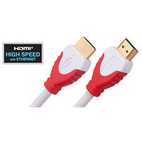Link Depot High Speed HDMI Cable with Ethernet and Red and White Connectors, 25'