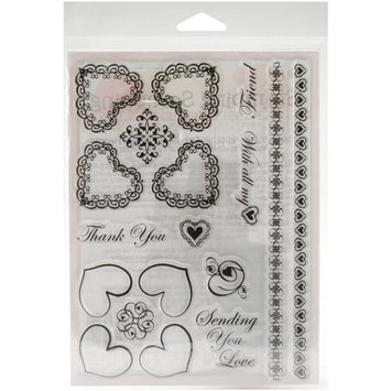 Addnice Stamping Scrapping Spellbinders Matching Clear Stamps, Fancy Hearts