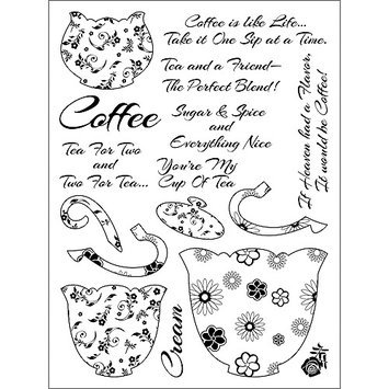 Stamping Scrapping Spellbinders Matching Clear Stamps-Tea Service Tea For Two