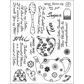 Addnice Stamping Scrapping Spellbinders Matching Clear Stamps-Tea Service Tea Time