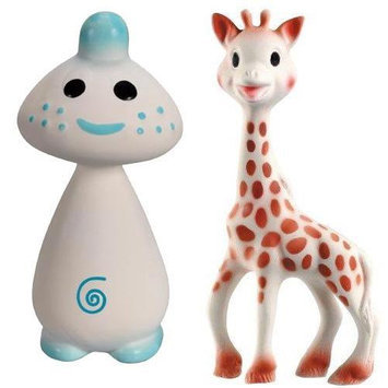 Vullie 616324-300197 Sophie Giraffe and Chan Blue - Natural Teethers