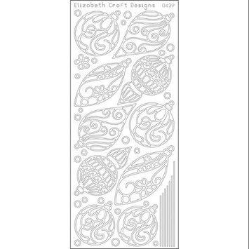 Elizabeth Craft Designs 124384 Christmas Ornaments Peel Off Stickers 4 in. x 9 in. Sheet-Silver